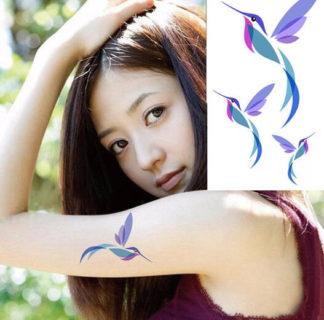 Faux tatouage oiseau bleu