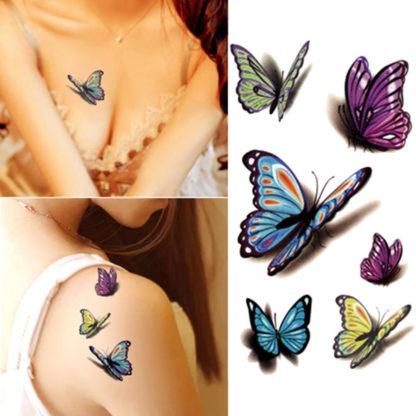 Tatouage ephemere papillons 3D