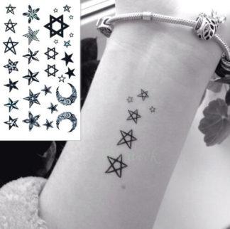 Faux tatouage etoiles & lunes
