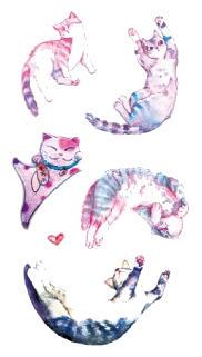 Tatouage temporaire chats detente