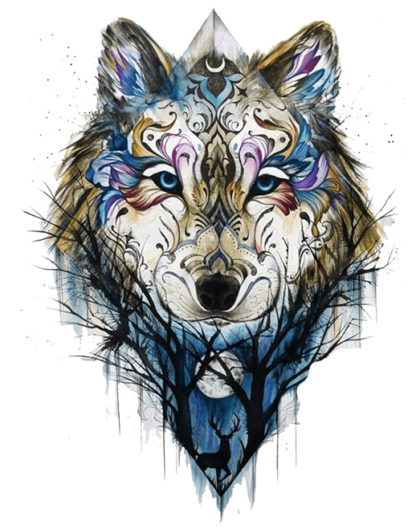 Tatouage temporaire loup design