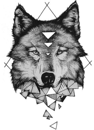 Tatouage temporaire loup wave