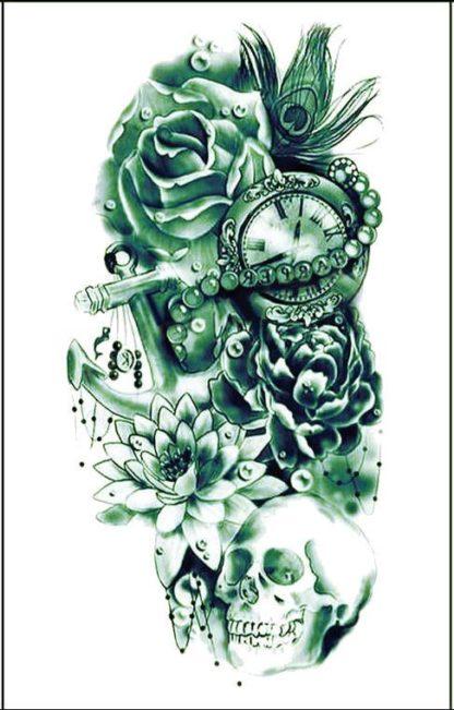 Tatouage ephemere fleur rose horloge avant bras